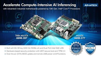 Advantech Mini-ITX AIMB-277 and AIMB-287 with 10th Gen. Intel Core Processors Accelerate Compute-intensive AI Inferencing