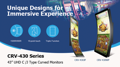 "Advantech Launches CRV-430 Series 43"" 4K2K Curved Touch Monitors"